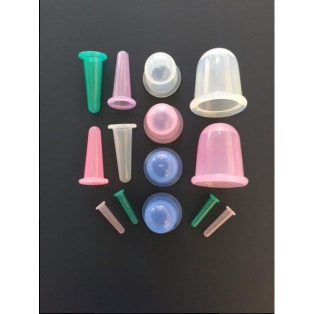 Ens. de 14 ventouses droites en silicone  Accessoires thérapeutiques pour massage