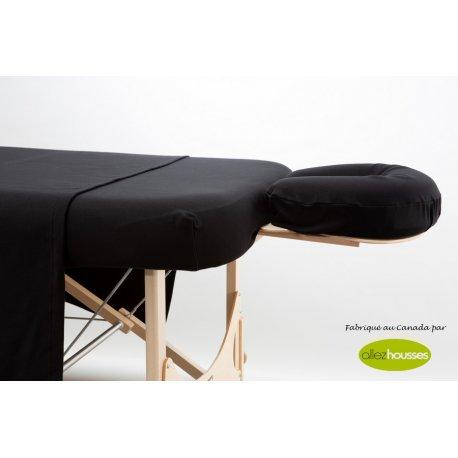 Ensemble de drap 3 morceaux 50/50 Polyester Coton Noir Allez Housses Literie de massage